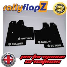 SWIFT 2ND GEN (2008-2010) BLACK MUDFLAPS (Logo Silver)
